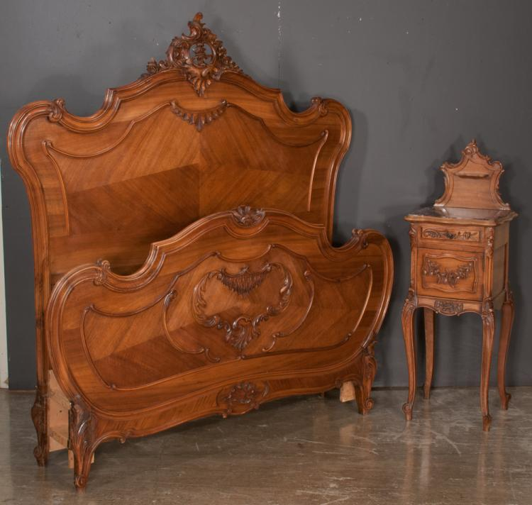 Louis XV style walnut marble top bedside stand with carved door and on cabriole legs, As Found (marble repaired), 16.5