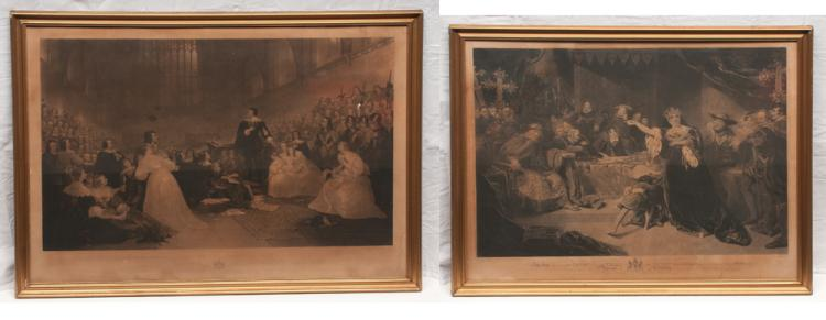 Pair of framed prints of court scenes, one is the trial of Queen Catherine, 29