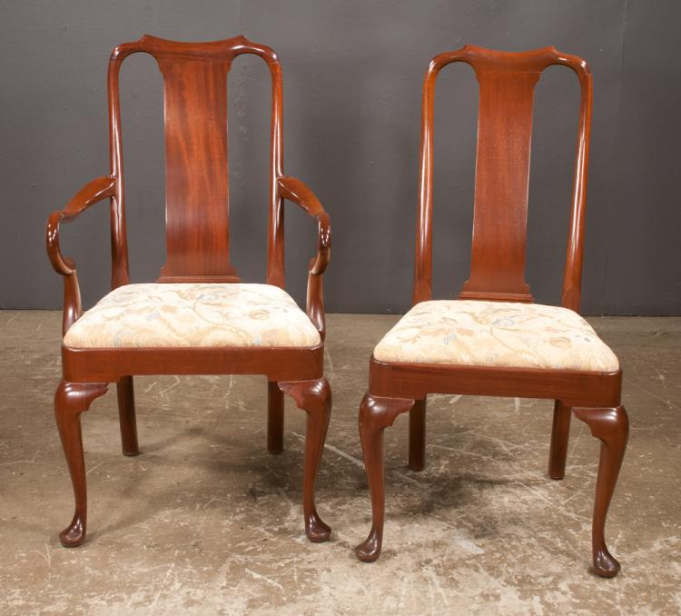 Set of eight Queen Anne style mahogany dining chairs on cabriole legs with pad feet, having shepherd's crook arms, armchairs-22