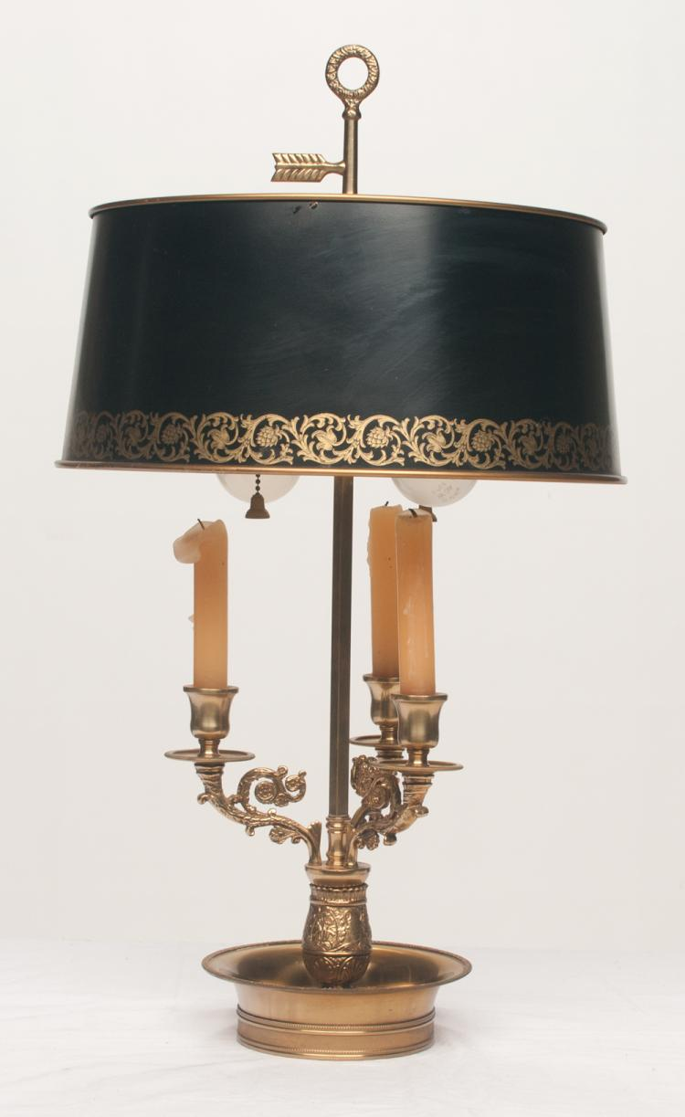 Brass three branch bouillotte lamp with decorated metal shade, 13.5