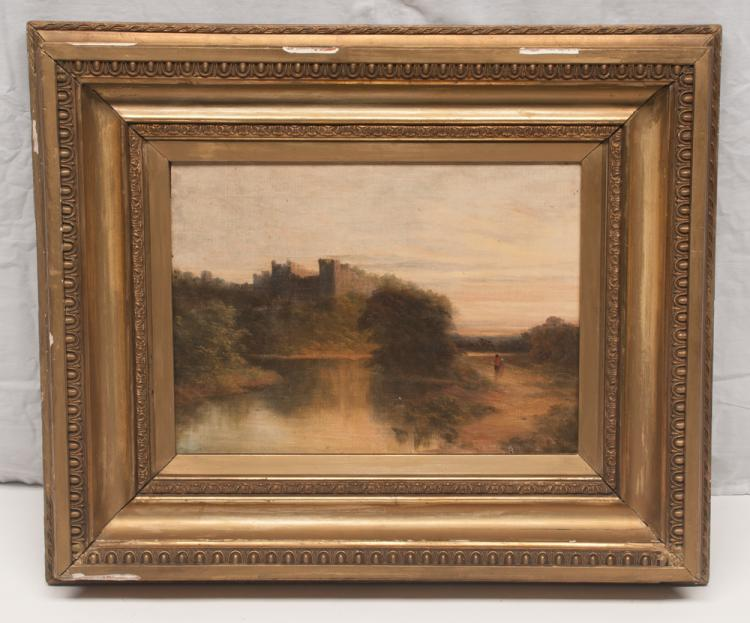 19th century English oil painting on canvas, river scene with two people on a trail and having a castle in the background, canvas size 12