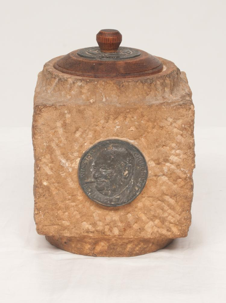 Stone humidor with bronze bust of Winston Churchill, top has an English oak lid with metal plaque denoting that this stone came from the House of Parliament, England, 6