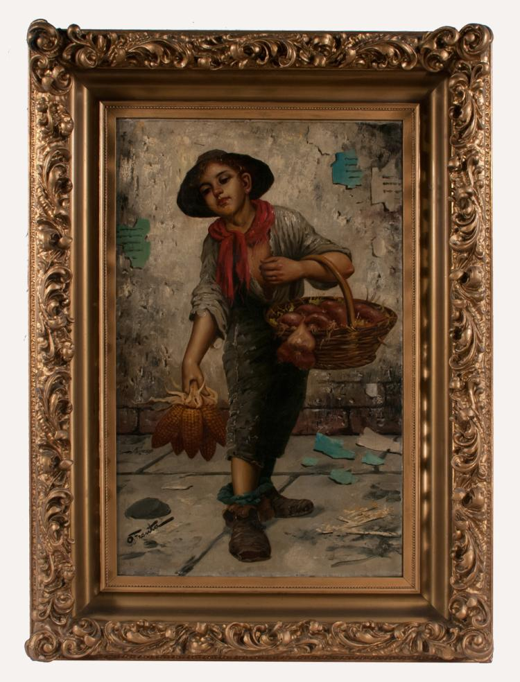 19th century oil painting on canvas, street scene with young boy carrying a basket of fruit on his left arm and holding some corn in his right hand, canvas size 32
