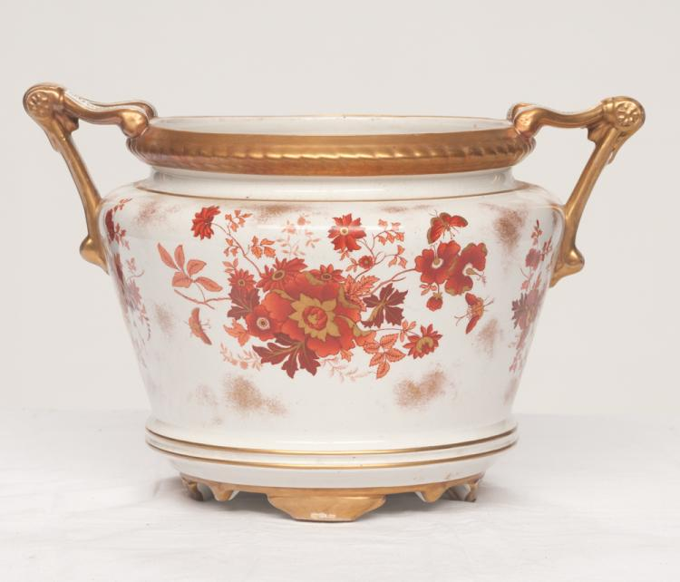 Circular English porcelain planter with shaped handles and gold and bittersweet floral decoration, 10