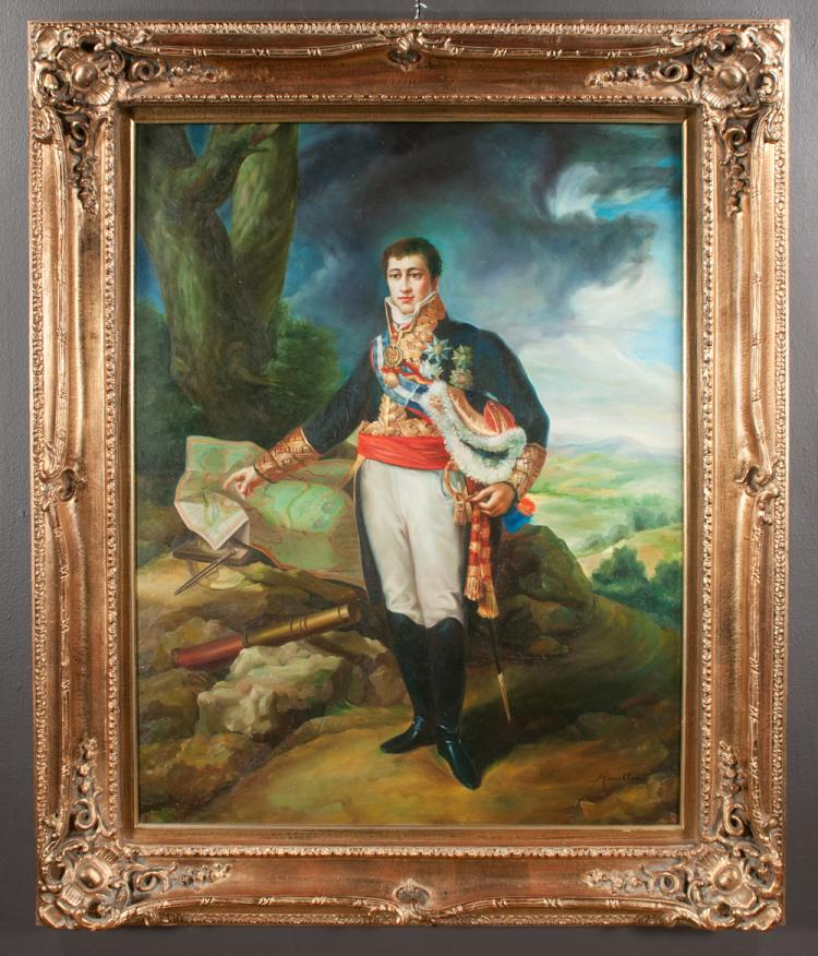 Oil painting on canvas, portrait of a French general in full military uniform standing and pointing to a map of a battle scene