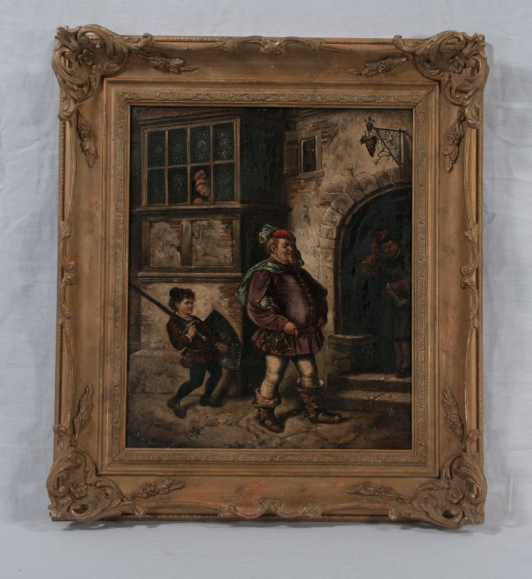 19th century oil painting on canvas, street scene with town mayor and a young boy following behind him, canvas size 15
