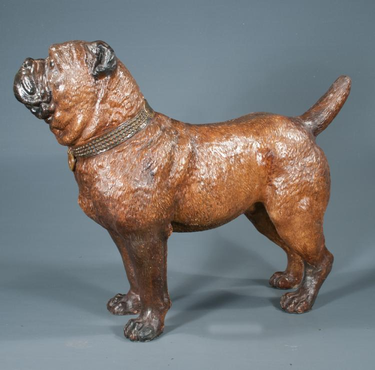 "French Glazed Terra Cotta Figure Of A Bull Dog, C.1920, 26"""