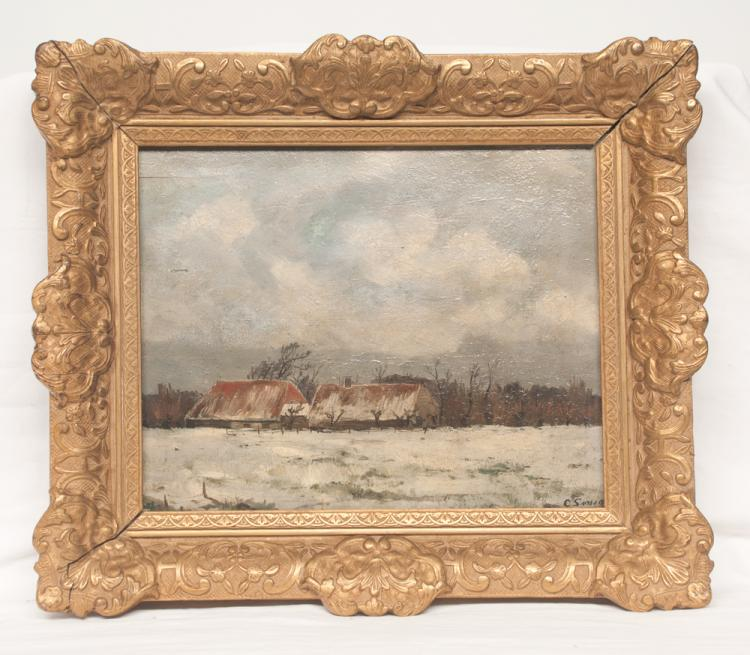 Oil painting on panel winter landscape scene with two thatch roof houses, signed lower right in a carved gold gilt frame, board size 9