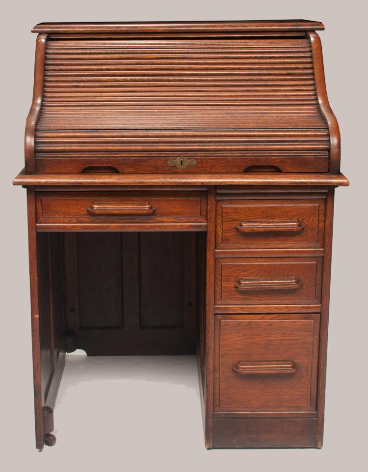 American oak single pedestal roll top desk with panel sides and panel back and good fitted interior, c.1900, (Tom T's personal desk), 33