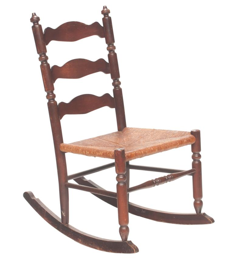 American ladder back rocking chair with rush seat, 17.5