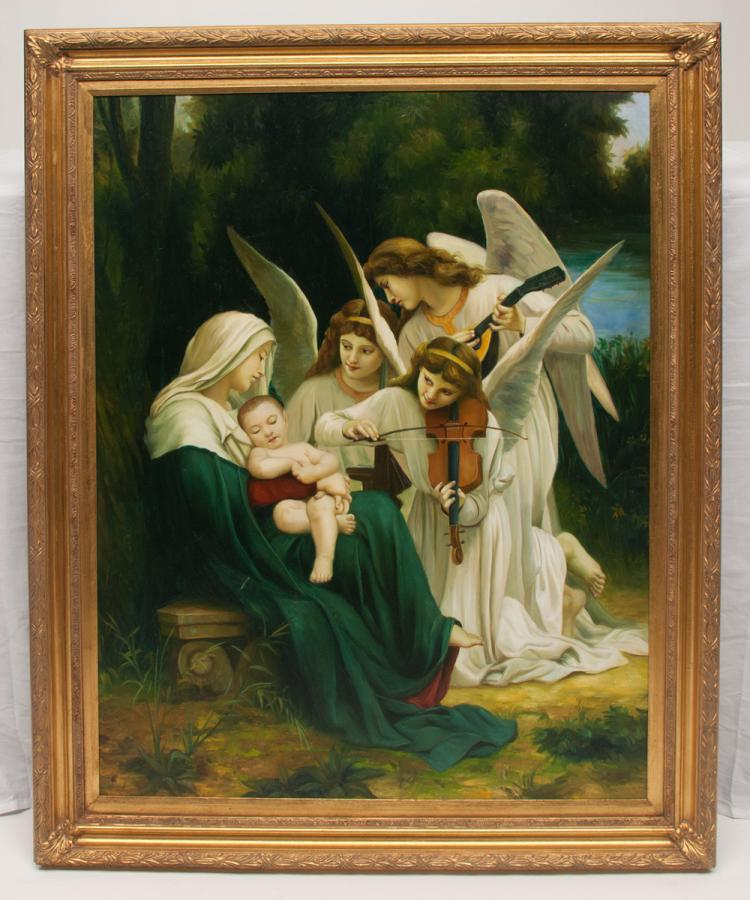 Oil painting on canvas, garden scene with Mary and baby Jesus with three angels, two with musical instruments, canvas size 40
