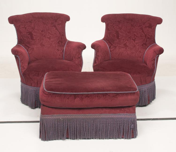 Pair of barrel back fauteuils, 28