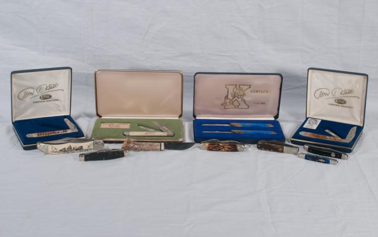 Collection of 12 pocket knives, two Kentucky Limited Edition knives in a case, one Buford Pusser Case knife, two Tom T. Hall Limited Edition Case knives in cases, one Case knife with Moby Dick carved scrimshaw handle, one Potts knife with Tom T. Hall on handle, one early Case doublex knife, one Bicker knife, one Camillus knife, one Case knife with blue handle and one custom made knife with stag handle