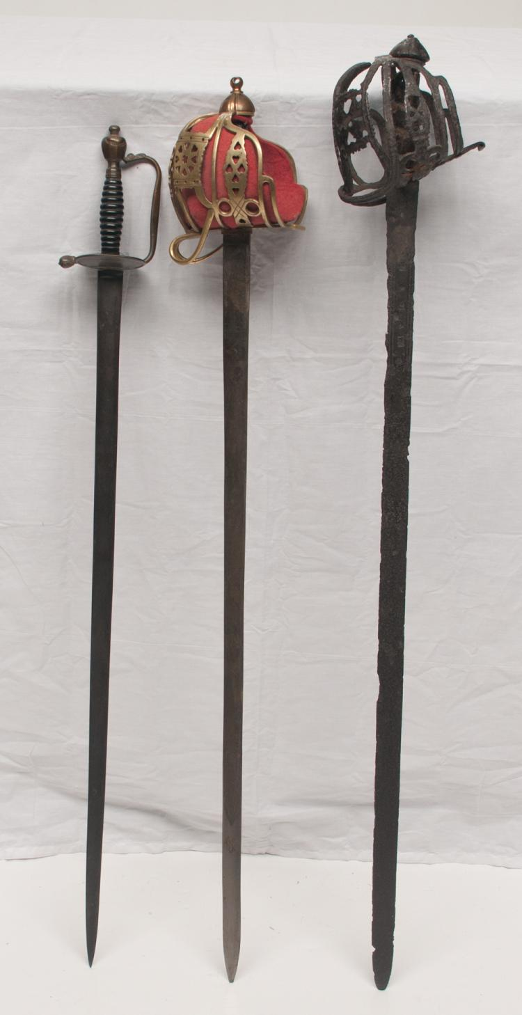 Group of three swords, two early fencing swords and one sword with hand guard, 37