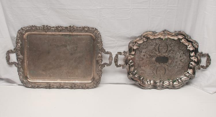 Oval silver plated footed serving tray with engraved decoration, 29