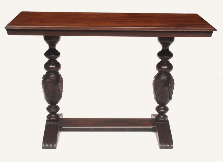 American mahogany sofa table with turned and carved columns on each end on fluted feet, 47