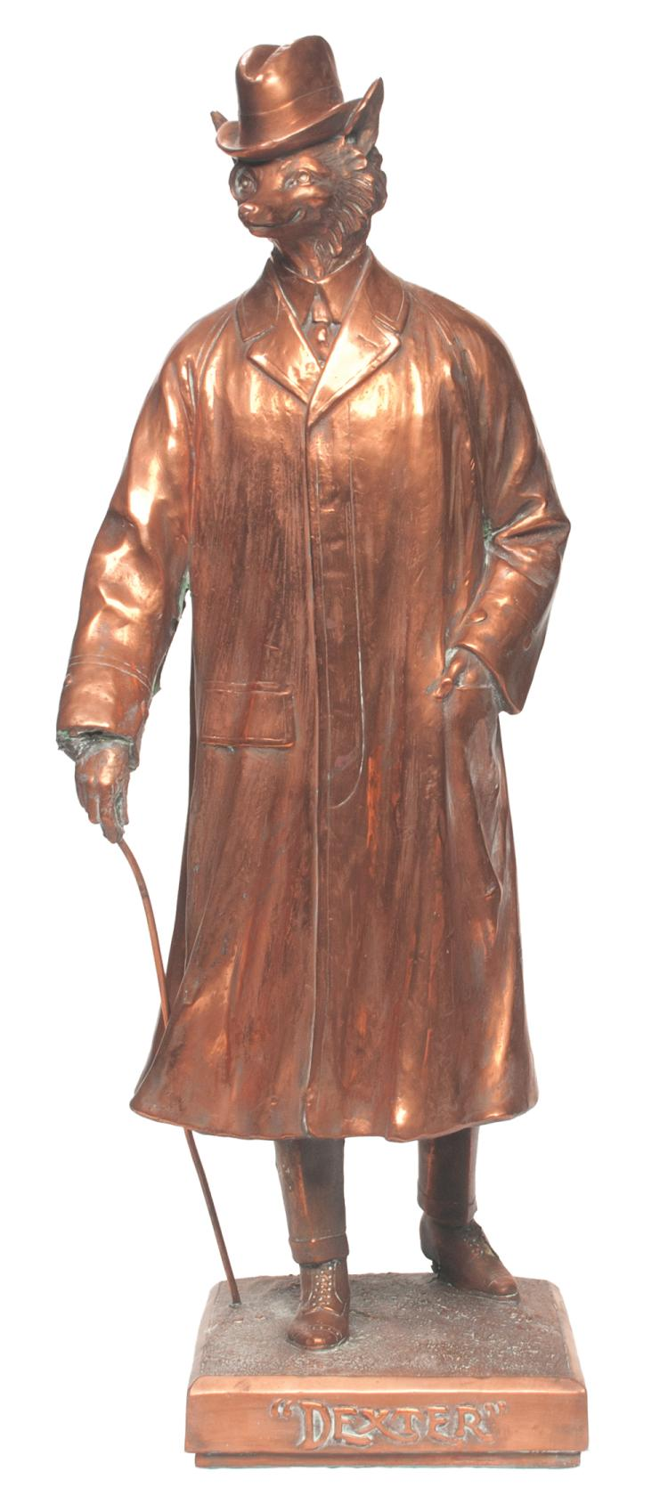 Copper sculptured figure of a fox in a full length trench coat titled Dexter, signed Th. Good, 32