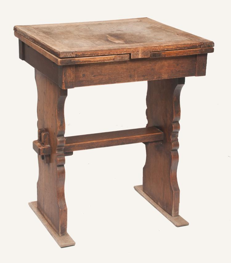 English oak draw leaf table with shaped standard ends and stretcher, 23