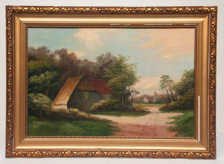 Oil painting on board, farm scene with thatch roof cottage and barn in the background, signed Weatherbee 1982, board size 15.5