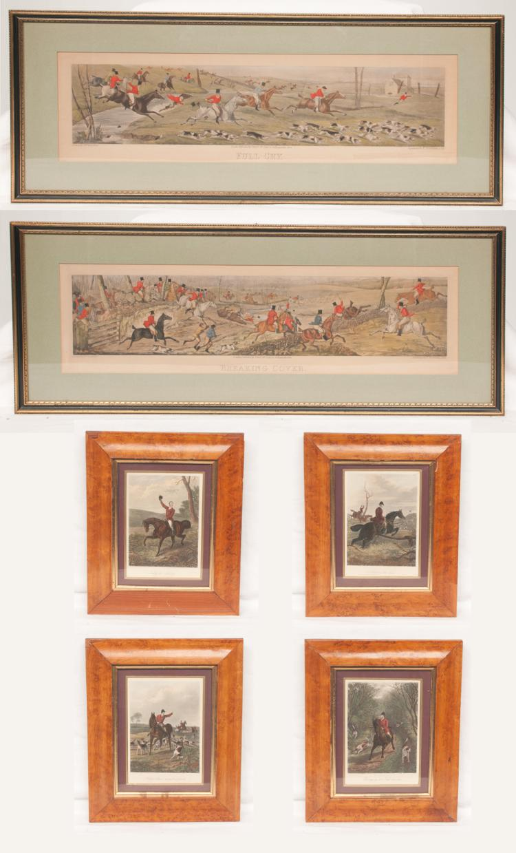 Set of four English maple framed fox hunting scene prints with huntsmen on horseback and hunting dogs, 12