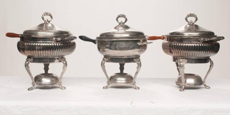 Group of three silver plated chafing dishes on stands with dome lids, 11