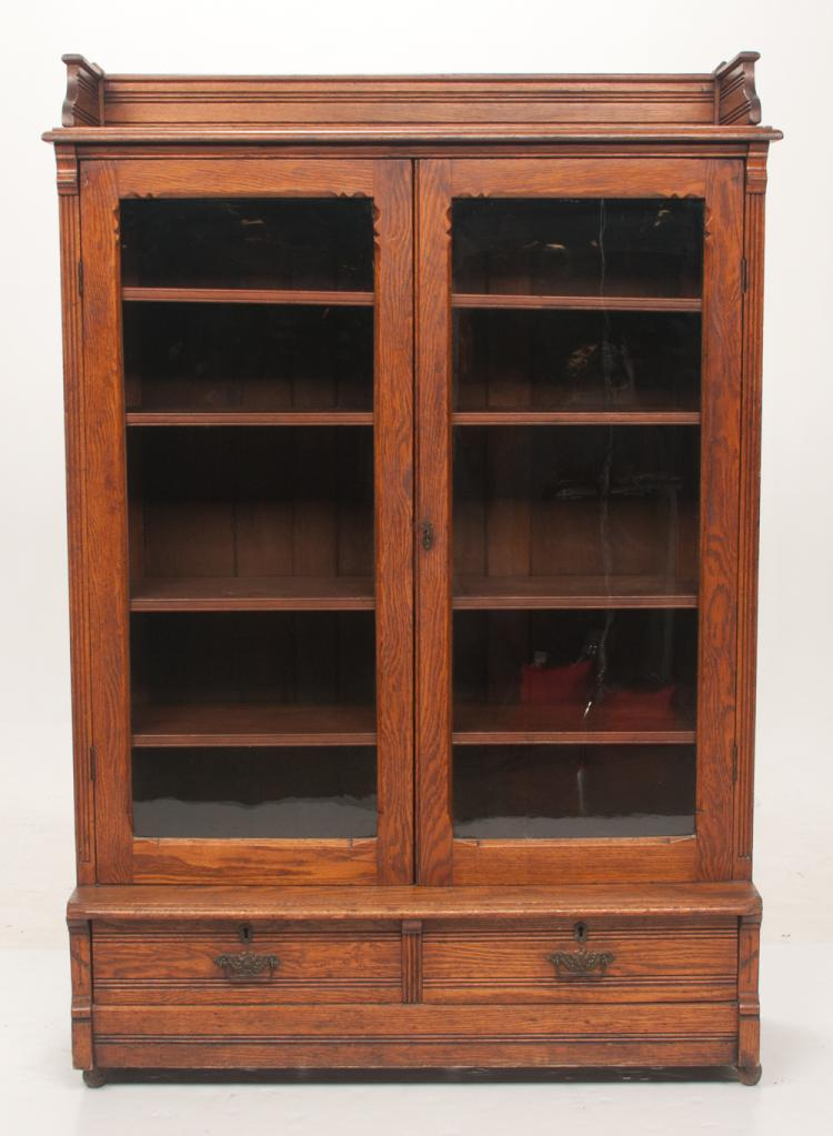 American oak kitchen cabinet with gallery top, double glazed doors and two drawers in the base, c.1900, 44