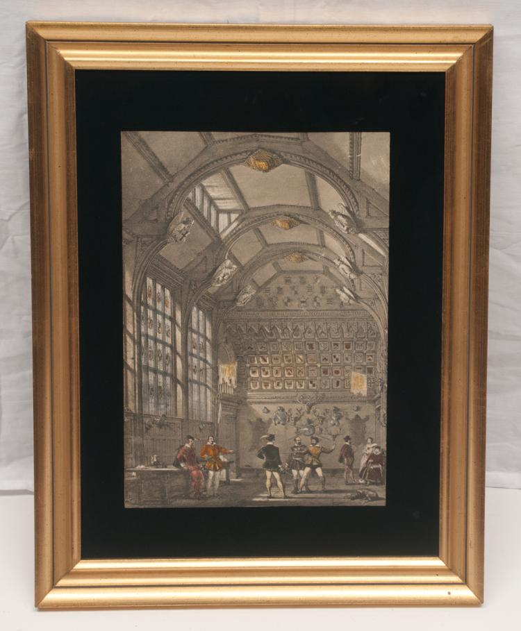 Framed lithograph interior scene of the Nash mansion with group of men fencing, lithograph size 13