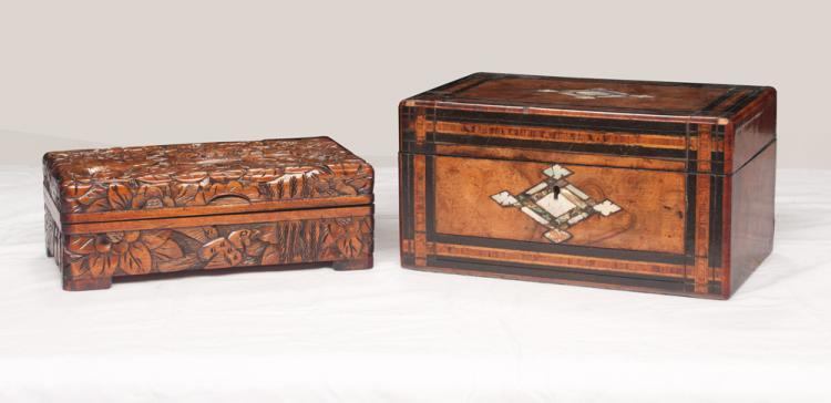 English inlaid burl walnut jewelry box with tray interior, 9.5
