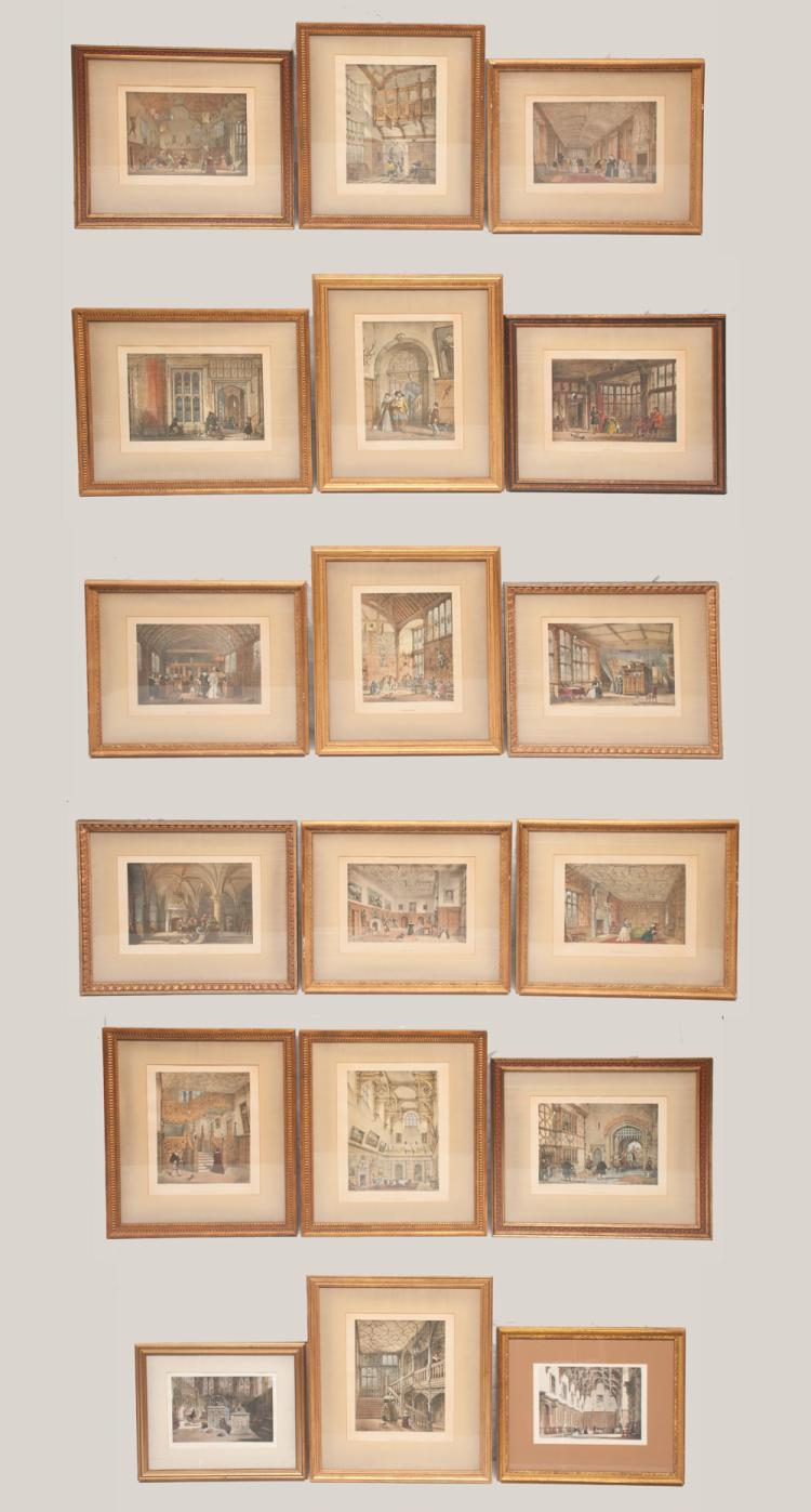 Group of 18 interior castle scene prints, 16 by Joseph Nash and two by other artists, all approx. 23