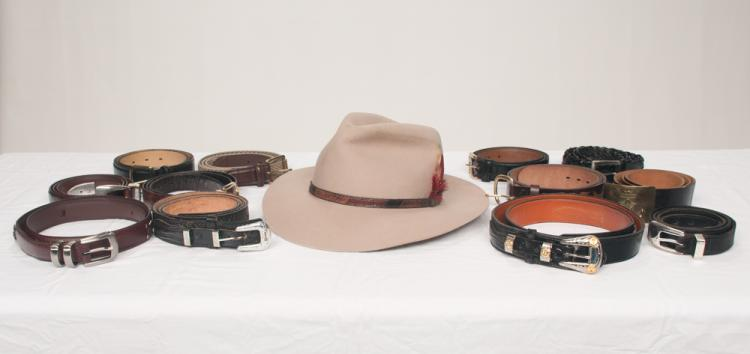 Group of 10 Tom T's leather belts, one leather and woven belt and an Akubra felt hat, 12 pieces