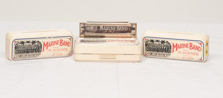 Collection of four Marine band harmonicas by Hohner of Germany, No. 1896,  F and F Sharp