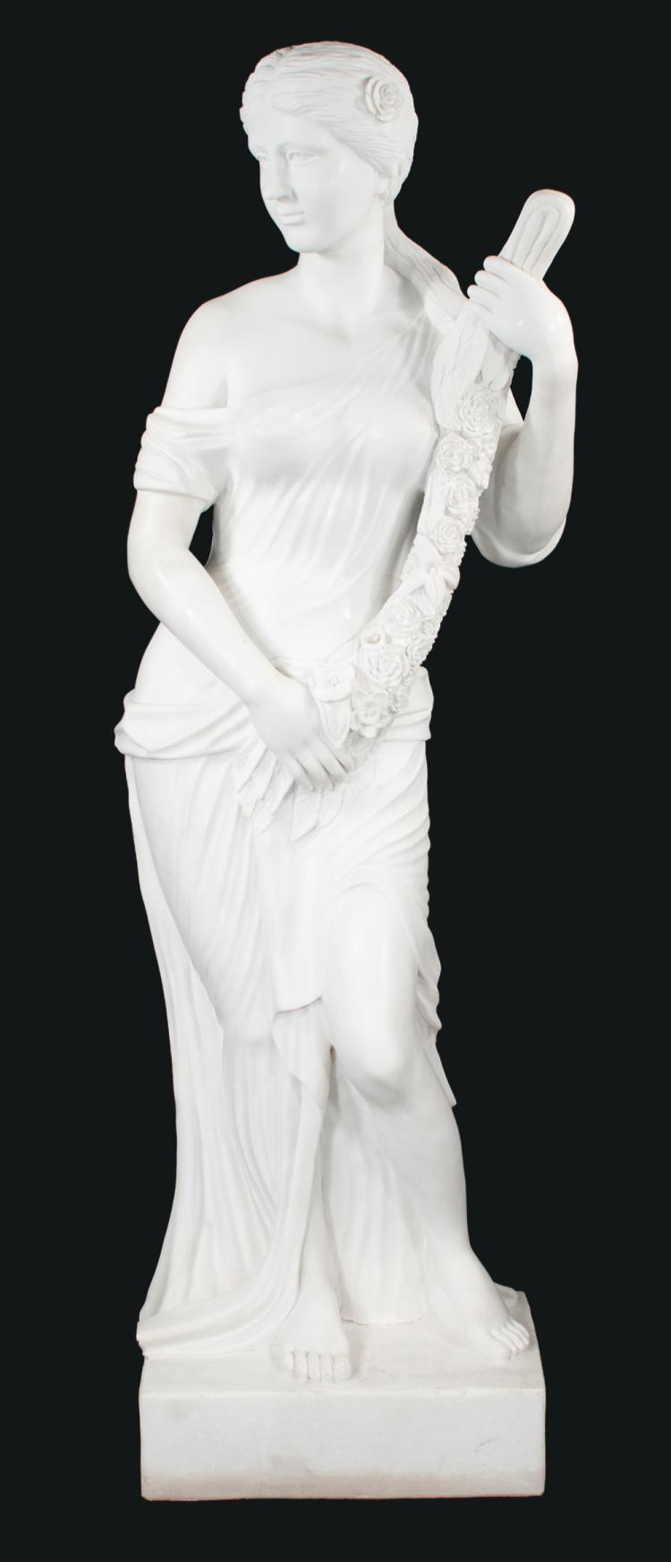 Life size marble sculpture of a classical lady, 76
