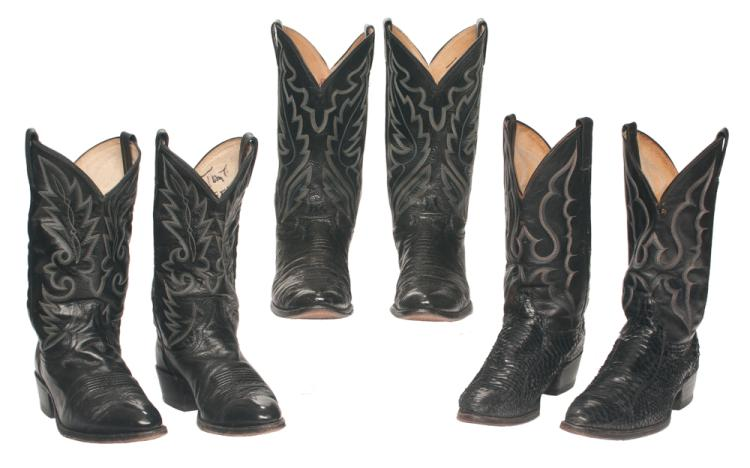 Group of three pairs of Tom T. Hall's Western leather stage boots