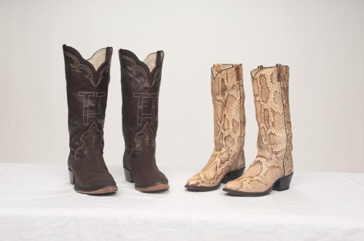 Pair of western custom made leather boots with TTH stitched in the front and a pair of western snake skin boots made by M. L. Leddy of Texas, two pairs
