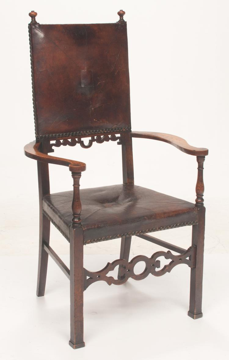 Jacobean style oak armchair with upholstered leather back and seat on square legs with pierced stretcher and moulded feet, c.1900, 26