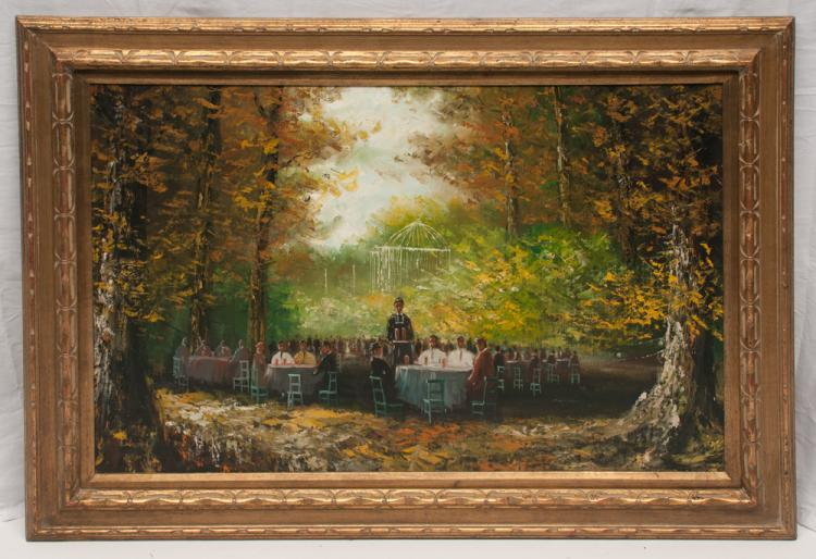 Oil painting on canvas of a wedding scene celebration with large group of people seated at tables in a forest, canvas size 24