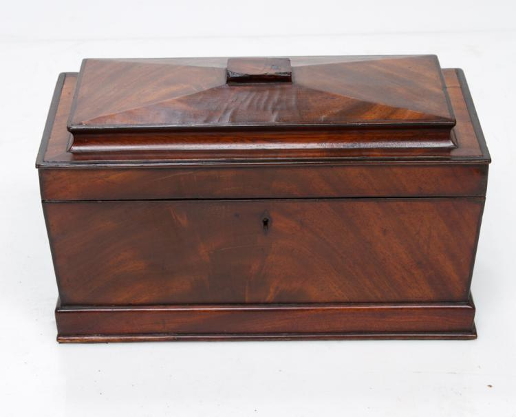 Fine Sheraton mahogany tea cady with coffered top, moulded base and good fitted interior, c.1860, 13.5