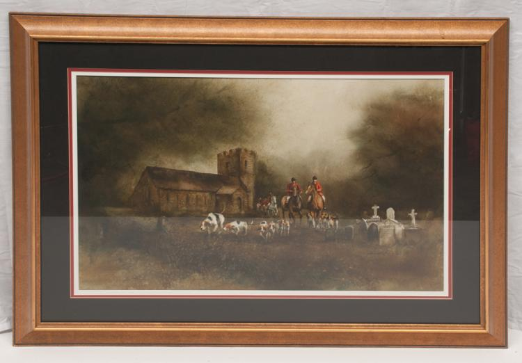 Framed print of a fox hunting scene with huntsmen on horseback and a group of hunting dogs with a church in the background, by Henrietta Green, 28