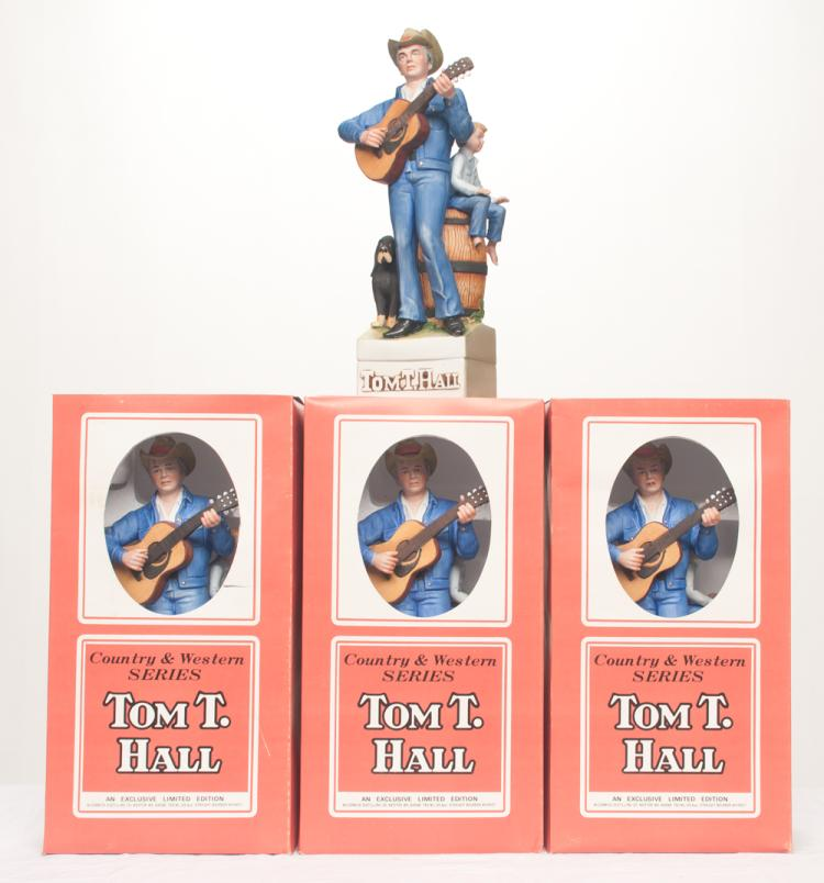 Group of four limited edition Country Western series, musical figures of Tom T. Hall holding his guitar, 15.5