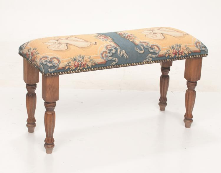 American oak hall bench with needlepoint covering with musical instruments and floral design, on turned and fluted legs, 33