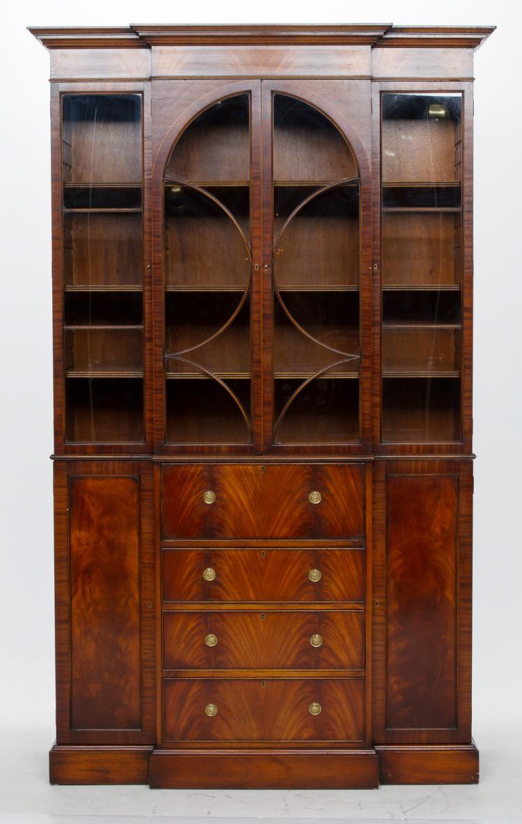Sheraton style mahogany breakfront bookcase with mullion glass doors, center secretaire drawer and moulded base, by South-Hampton, 50