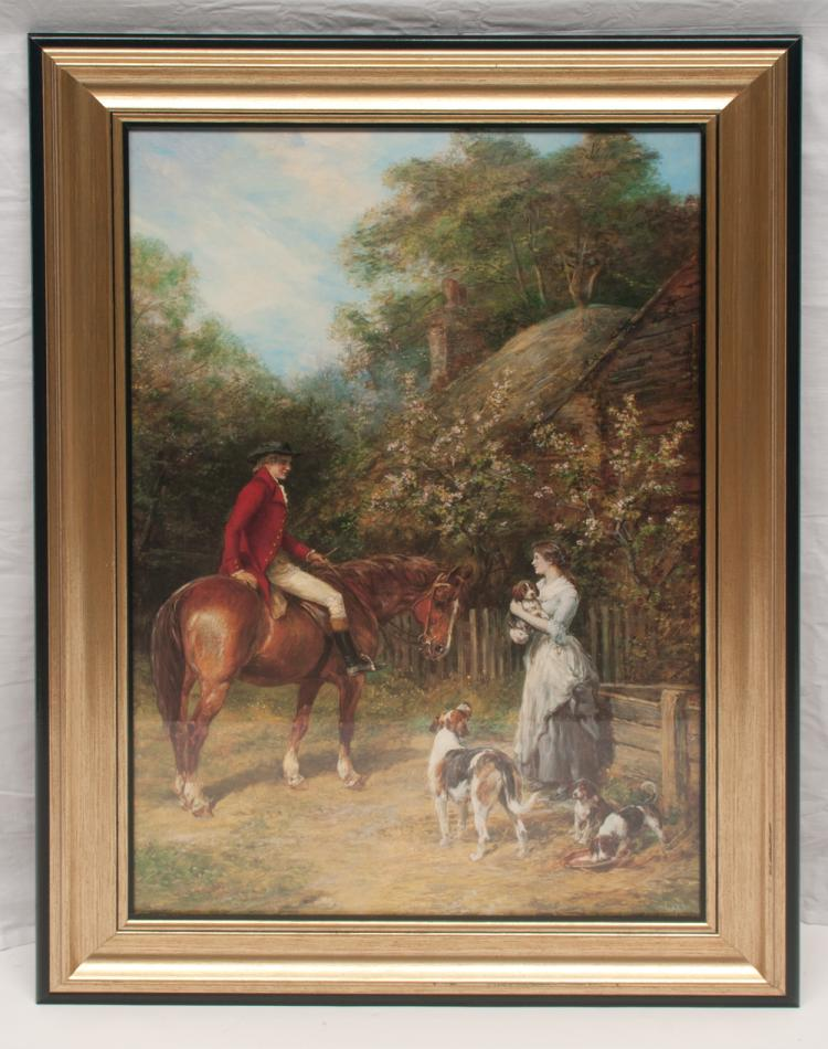 Framed print of a farm scene with man on horseback and a lady standing holding a dog and with three dogs at her feet, 36.5