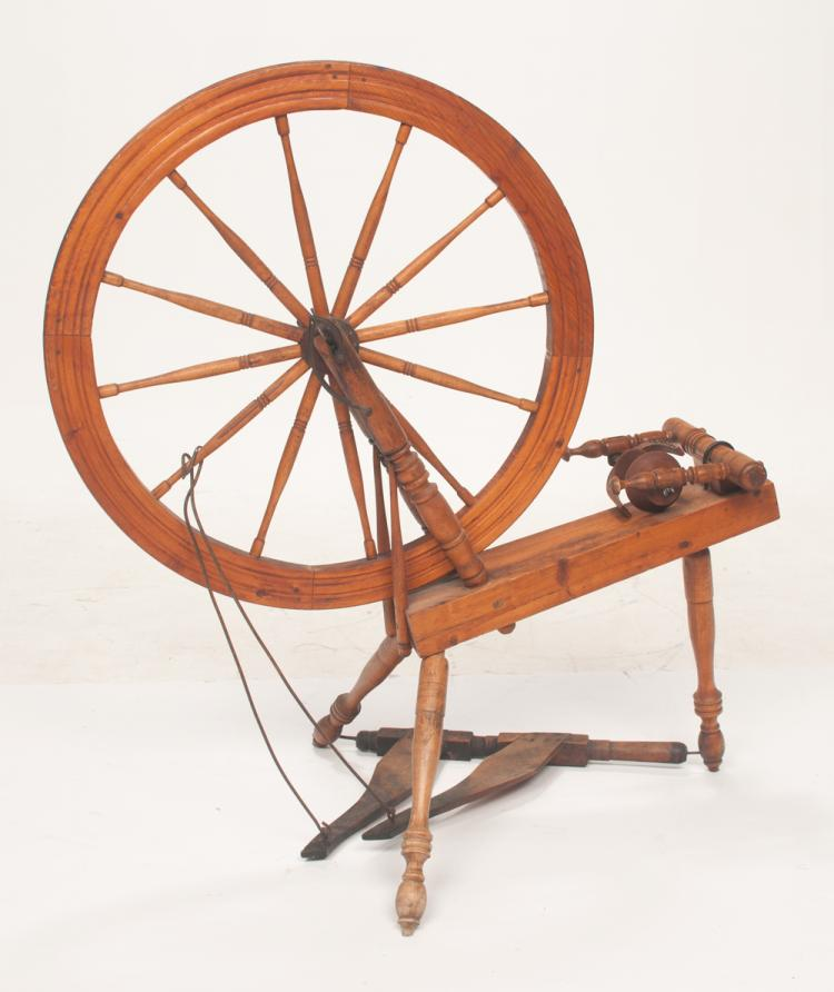 American pine and maple spinning wheel with original spool and foot crank, 40