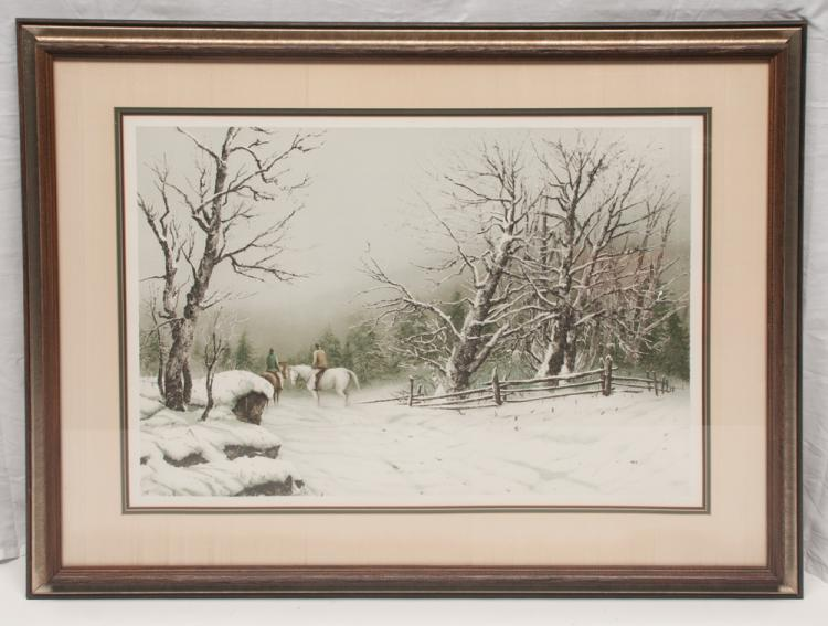 Framed winter scene print with a landscape and two men on horseback riding in a forest, signed Hubert Shuptrine, 32