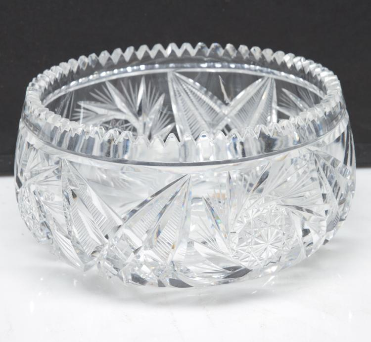 Fancy cut glass bowl in the pin wheel cut design, 9