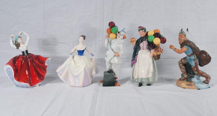 Collection of five Royal Doulton figures, Biddy Penny Farthing, Balloon Clown, Karen, Lisa and the Viking