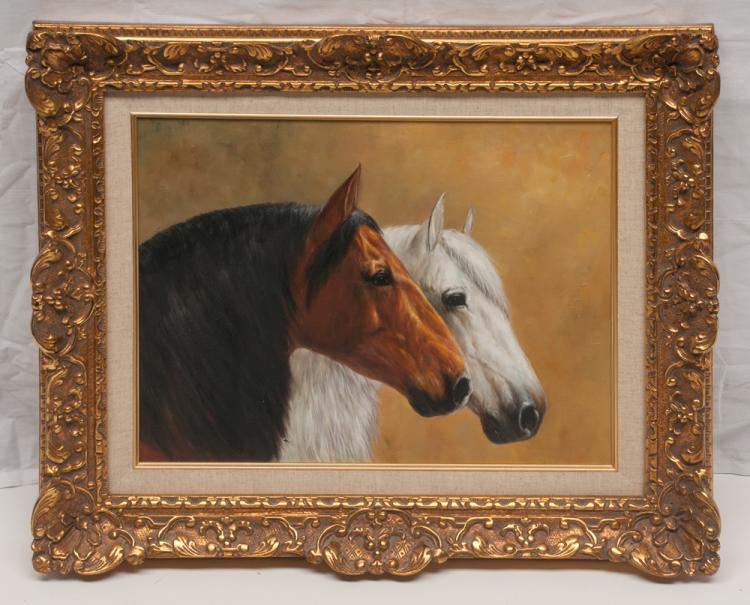 Oil on canvas painting of two horse heads in a gold gilt frame, canvas size 12