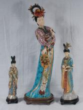 Two Chinese cloisonne enamel figures of women, one 13