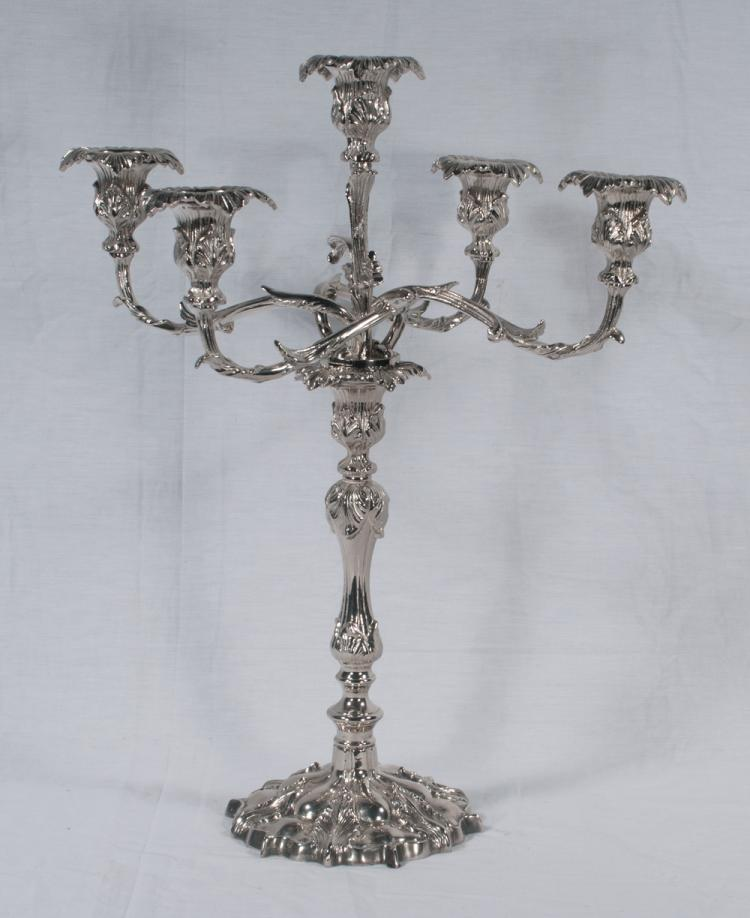 English five branch silver plated candelabra, 12