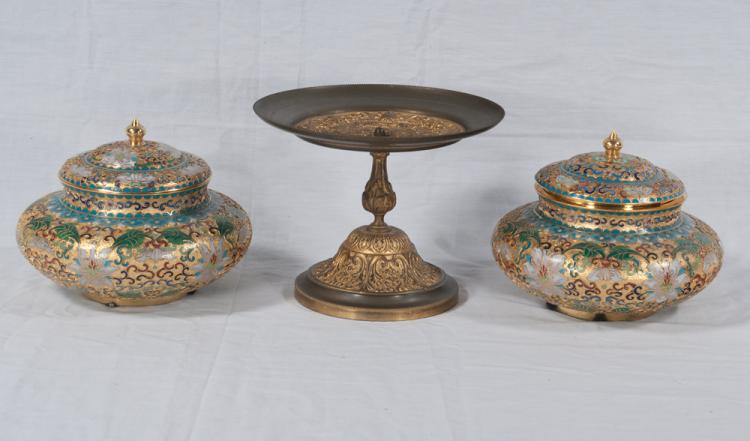 Pair of Chinese cloisonne urns with dome lids, 3.5